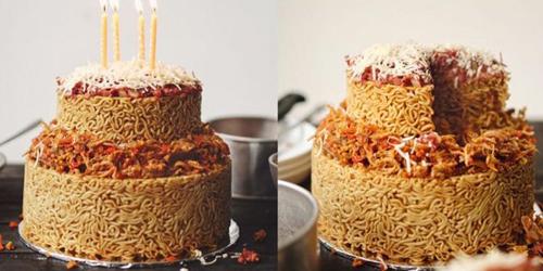 indomie goreng, kue ulang tahun,kue
