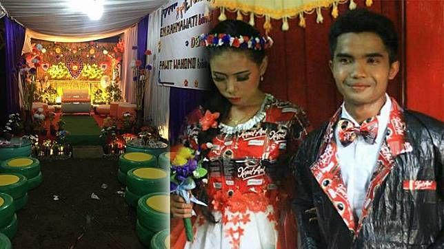 Pernikahan dengan konsep daur ulang banjir pujian netizen