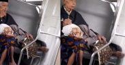 Video Nenek Tidur di Pangkuan Kakek saat Naik Kereta