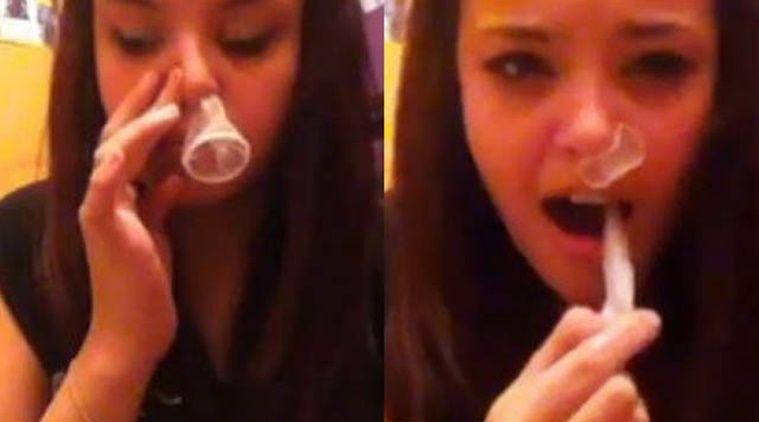 . Condom Snorting Challenge