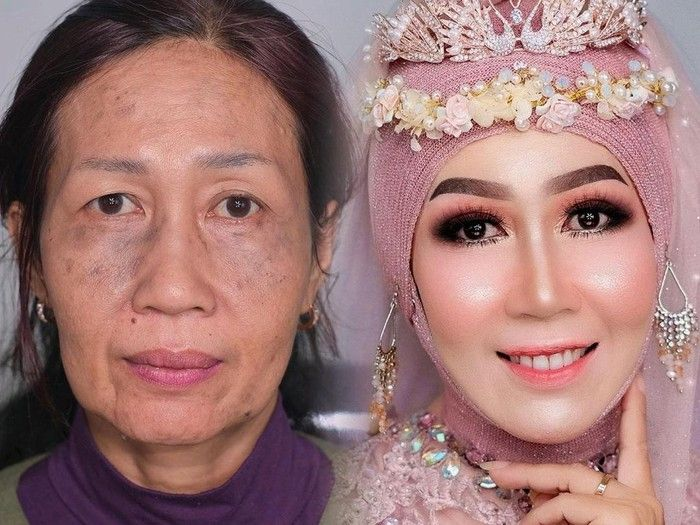 Perubahan wajah nenek 60 tahun karena make up Ari Izam