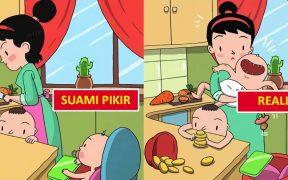 """Ilustrasi """"Ekspektasi vs Realita"""" ibu rumah tangga di mata suami"""