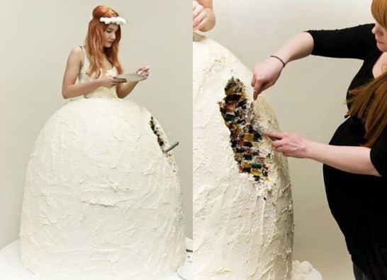 Gaun pengantin aneh berbentuk kue yang bikin salah fokus