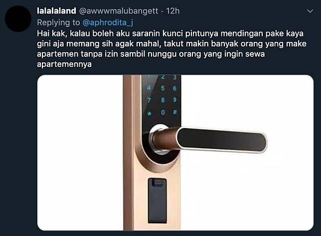 Saran netizen atas kasus apartemen @aphrodita_j