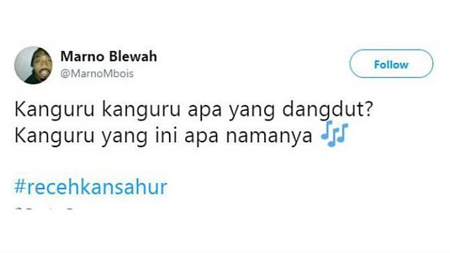 Tebakan receh ala Twitter : Kanguru yang suka nyanyi