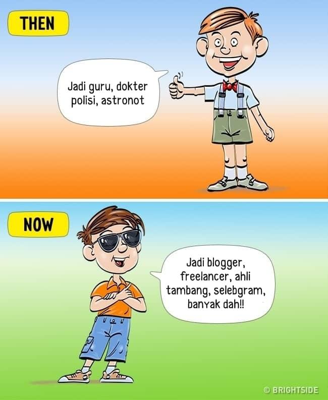 7. Perbedaan cita- cita anak jaman dulu dan sekarang