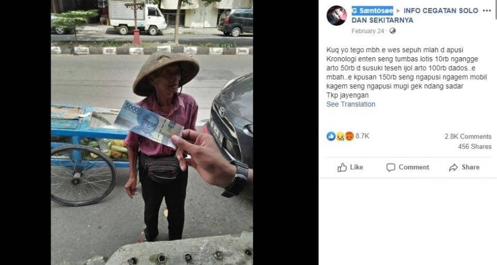 Kakek tua penjual lotis ditipu pengendara mobil